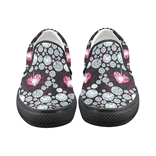 D-story Custom Sneaker Diamond Skull Donne Insolite Scarpe Di Tela Slip-on (modello 019)