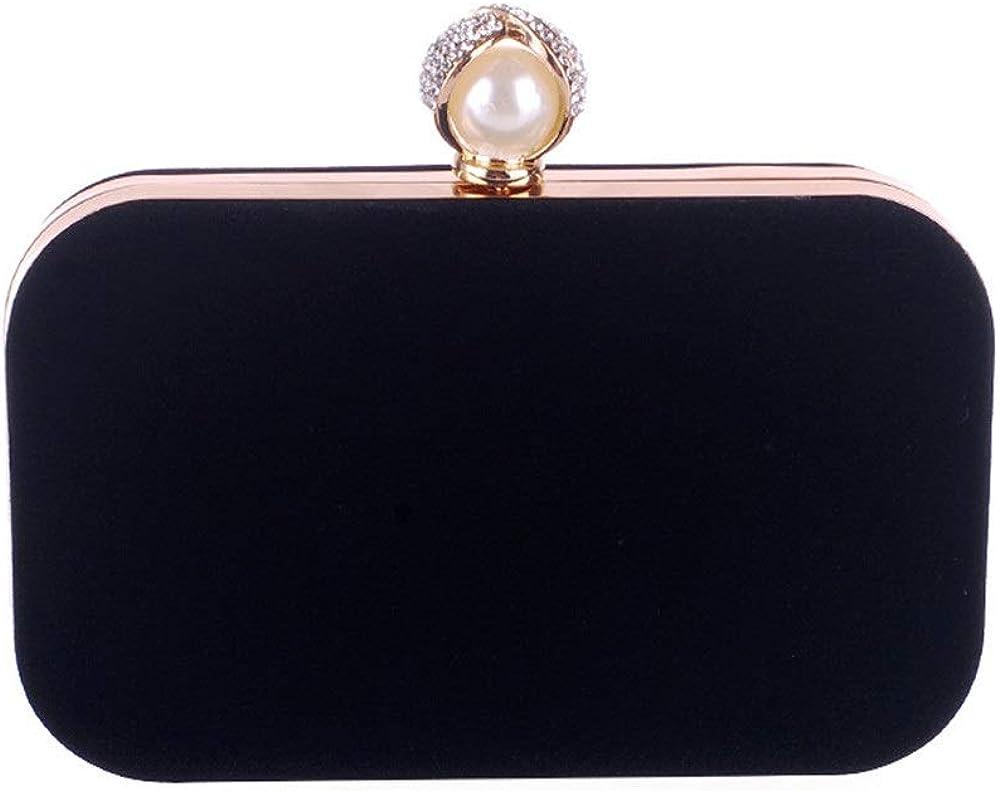 Elegant Velvet Pearl Buckle Evening Bag Wedding Hand Holding Portable Diagonal Female Bag Dress Bag