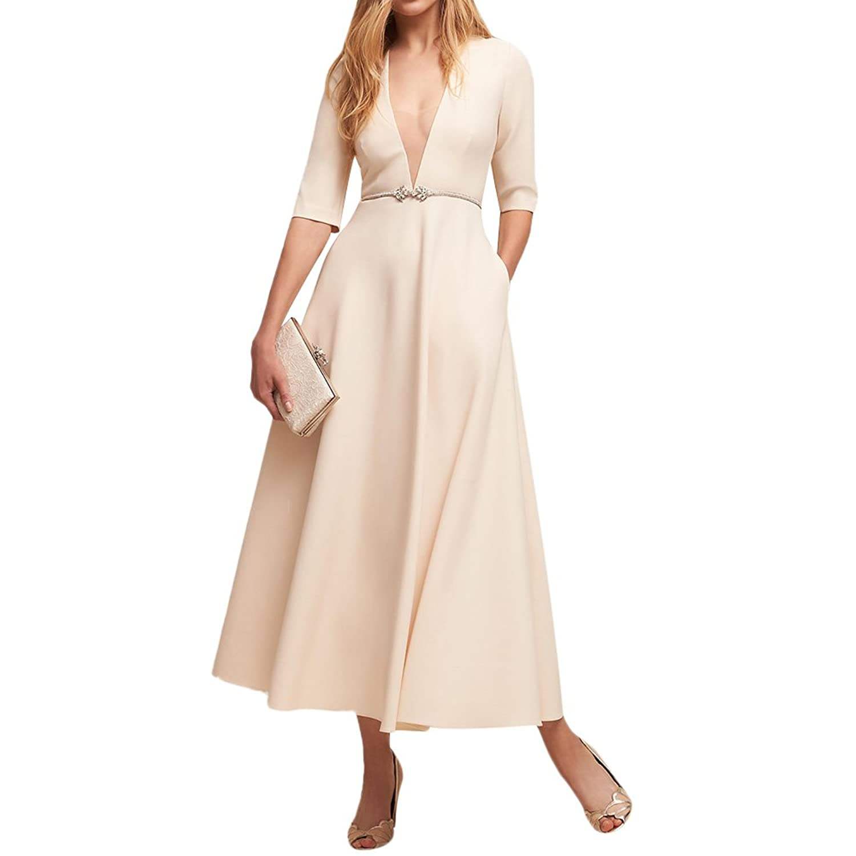 iShine Ballkleid Damen V-Ausschnitt Wickelkleid 1/2 Arm Abendkleid ...