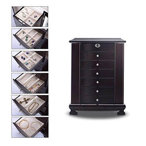 HERITAGE Schmuckkästen abschließbare Holz Schmuckkiste mit Schubladen, Espresso Schmuckschatulle Speicherorganisator -