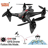 Helicopter ,Jinjin Global Drone GW198 Wide-angle HD Camera 5G WIFI FPV 6-Axis Ray Brushless Motor RC Quadcopter Follow Me (red)