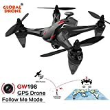 Jinjin Helicopter Global Drone GW198 Wide-Angle HD Camera 5G WiFi FPV 6-Axis Ray Brushless Motor RC Quadcopter Follow Me (red)