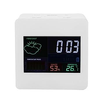 5 en 1 Termómetro Higrómetro Digital Humedad interior Reloj Calendario Electrónico con LCD a color /