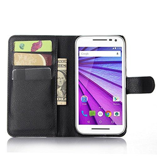 Moto G 3rd Gen Case - Demomm(tm) Flip Pu Leather Wallet Case Holder Cover with Stand / Card Slots for for Motorola Moto G3 (G 3rd Generation, 2015) (Black)