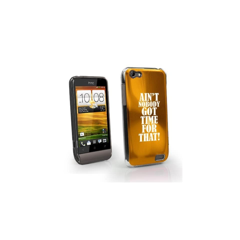 Gold HTC One V Virgin Aluminum Plated Hard Back Case Cover MV12 Aint Nobody Got Time For That Cell Phones & Accessories