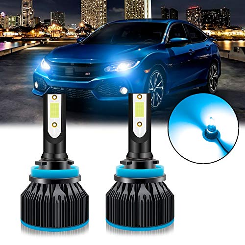 Xotic Tech 2pcs H8 H9 H11 Ice Blue 8000K LED Headlight Bulb Conversion Kit, High Low Beam Fog Light 6000LM Super Bright