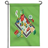 AmaPark Garden Flag flat d web isometric e commerce electronic business online shopping payment delivery shipping House Flag Decoration Double Sided Flag 12