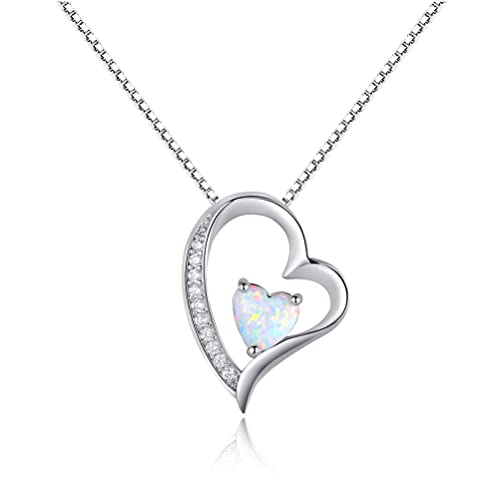 811090d49 OPALBEST Heart Fire Opal Pendant Necklace Halo CZ White Gold Plated for  Women Girls 18.5Inch