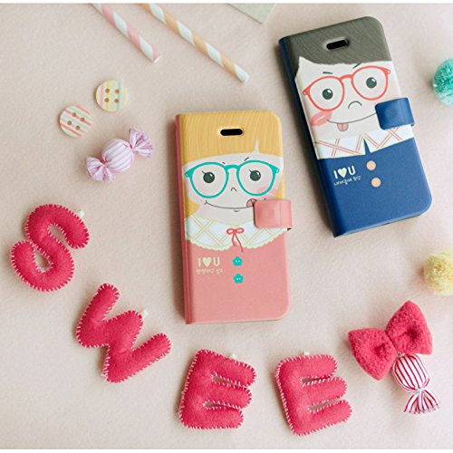 iPhone 6/6S 4.7inch Flip Phone Case Cover with Card Slot, Happymori Faux Leather Design [Valentine Couple Gift] [Free iPhone 6/6S Screen Protector Film Gift] (Boy)