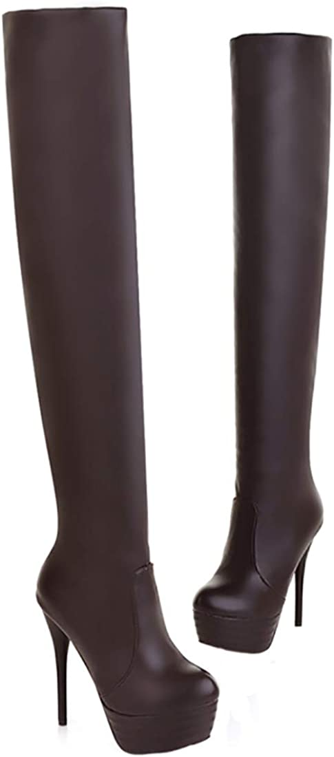Faux Leather Pull On Sexy Boots