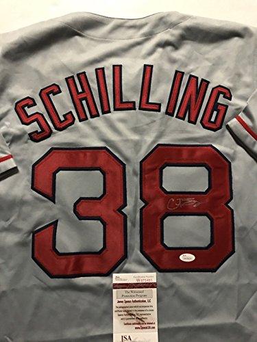 Autographed/Signed Curt Schilling Boston Grey Baseball Jersey JSA COA ()