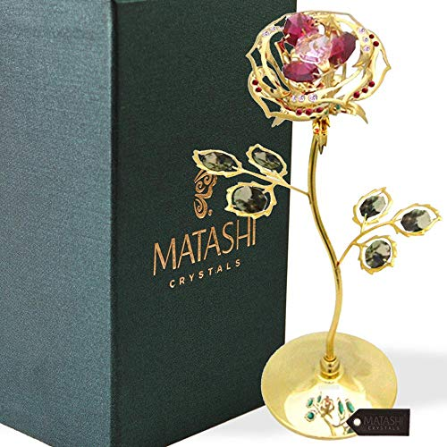 "Everlasting 7.5"" 24K Gold Plated Long Stem Rose Flower with Premium Colored Crystals, Great #1 Gift Ideas for Mother, Girlfriend, Mom, Wife"