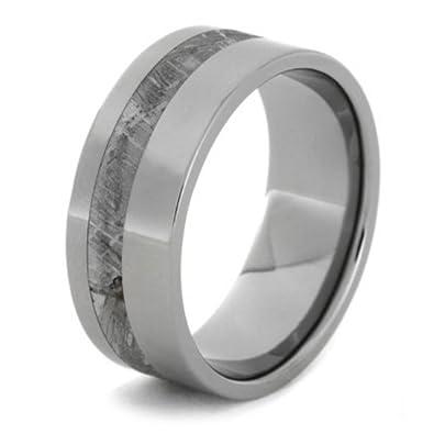 gibeon meteorite 9mm comfort fit polished titanium wedding band size 4