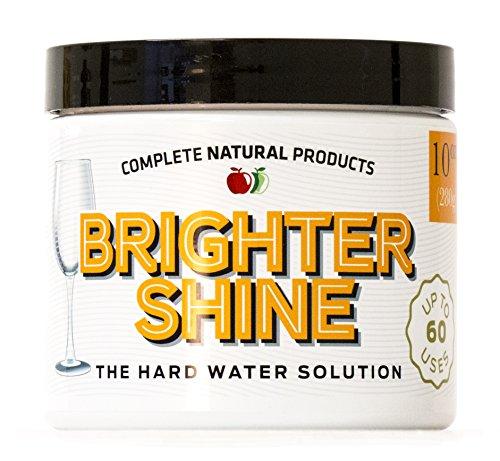 Brighter Shine - 60 Uses, Natural Lemon Dishwasher Additive & Cleaner, Hard Water Spots Remover