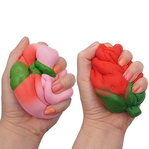 LimBridge Jumbo Squishies Strawberry & Peach Squishy Fidget Toys Smell Good Slow Rising 2 Pack for Kids Girls Photo #5