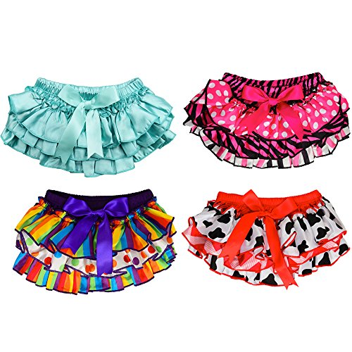 Ruffle Bloomers (juDanzy Satin baby ruffle bloomers Diaper Covers in a Variety of colors & sizes (6-24 Months, Satin 4 Pack))