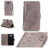 Galaxy J7(2015 Model) Cover with Free Screen Protector,Funyye Leather Wallet Strap Slots Cover Butterfly Embossed Design Full Protection Stand Case for Galaxy J7(2015 Model) - Gray