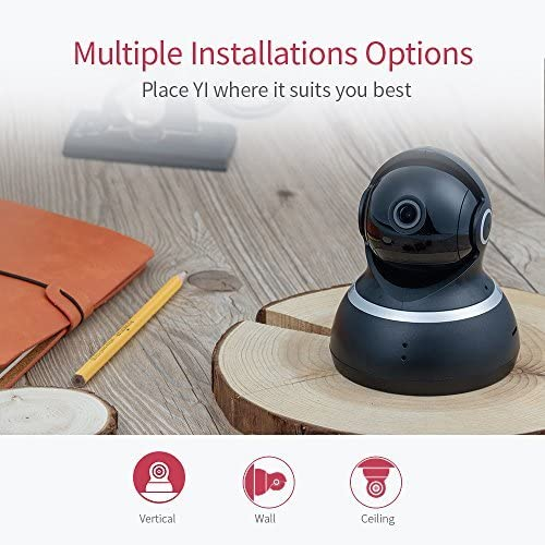 YI Indoor Wireless WiFi Security IP Camera, Smart Nanny Pet Dog Cat Cam with Night Vision, 2-Way Audio, Motion Detection, 360-degree, 1080p, Phone App, Works with Alexa and Google(Black)