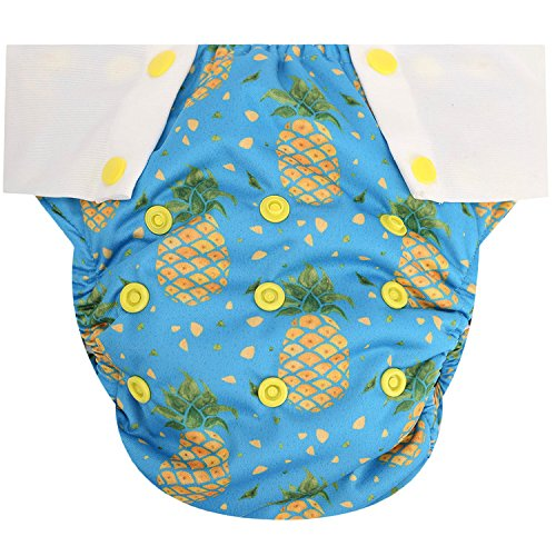 (HappyEndings Toddler/Kid Pull On Reusable Cloth Diapers/Training Pants (Medium, (Fits 35-50lbs), Peace, Love, Pineapples))