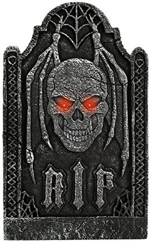 Creepy Cemetery Halloween Party Light Up Skull Tombstone Decoration, Foam, 24