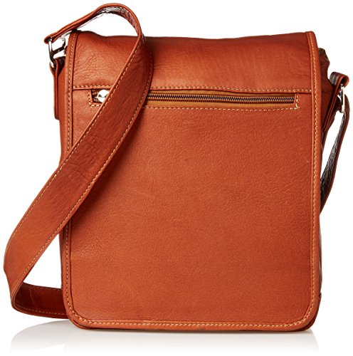 Piel Leather iPad Tablet Shoulder Bag, Saddle, One Size ()