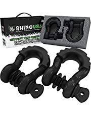 """Rhino USA D RIng Shackle (2 Pack) 41,850lb Break Strength - 3/4"""" Shackle with 7/8 Pin for use with Tow Strap, Winch, Off-Road Jeep Truck Vehicle Recovery, Best Offroad Towing Accessories (Gloss)"""