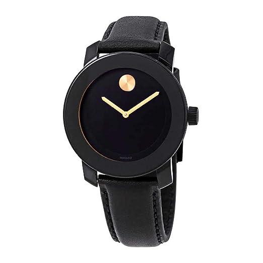 Movado Bold Reloj de Hombre Cuarzo 40mm Correa de Cuero Color Negro 3600527: Amazon.es: Relojes