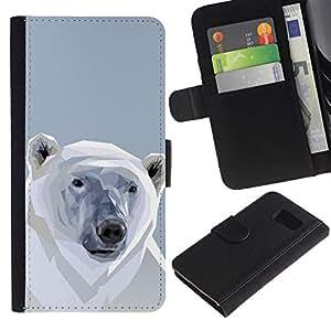 LECELL--Cuero de la tarjeta la carpeta del tirón Smartphone Slots Protección Holder For Sony Xperia Z3 Compact -- Polígono Oso Polar --