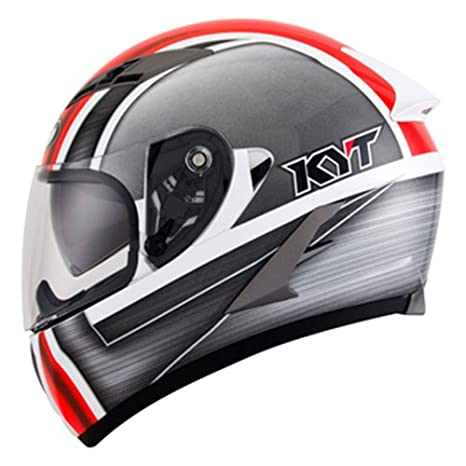Amazon.es: CASCO integral MOTO KYT (grupo SUOMY) FALCON SIM blanco talla L .. rojo.