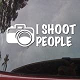 I Shoot People Camera Humor Symbol White Vinyl Car Sticker Symbol Silhouette Keypad Track Pad Decal Laptop Skin Ipad Macbook Window Truck Motorcycle Reviews