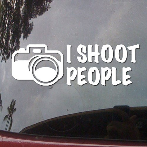 I Shoot People Camera Humor Symbol White Vinyl Car Sticker Symbol Silhouette Keypad Track Pad Decal Laptop Skin Ipad Macbook Window Truck Motorcycle (Silhouette People)