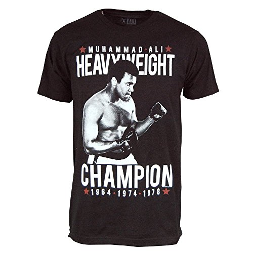 64' Clay (Mens Official Muhammad Ali Cassius Clay 3-Time World Heavyweight Champion T Shirt Black Medium - Chest 40-42in Black Black)
