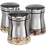 CHEFVANTAGE Glass Kitchen Storage Jar Set for Countertop with Air Tight Container Lid - Stainless Steel