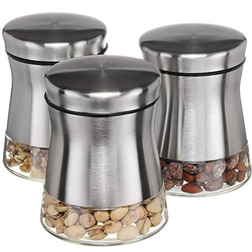 (CHEFVANTAGE Glass Kitchen Storage Jar Set for Countertop with Air Tight Container Lid - Stainless Steel)