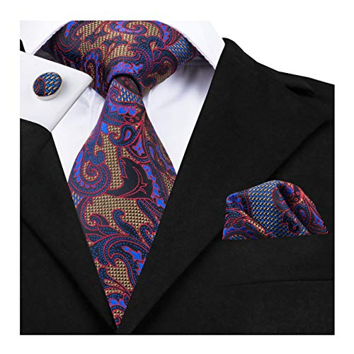 (Dubulle Vintage Mens Tie Set Necktie and Pocket Square with Cufflinks Gift Box)