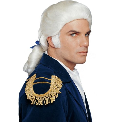 Duke Wig with Bow Adult Costume Accessory White One (Aristocratic Wig)