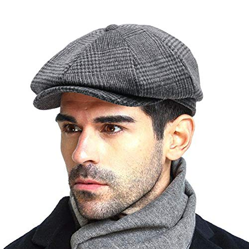 Men's Newsboy Gatsby Hat Vintage Beret Flat Ivy Cabbie Driving Hunting Cap for Boyfriend Gift]()