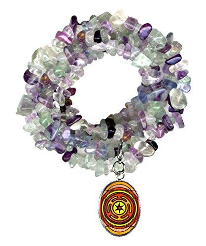Goddess Hecates Magic Wheel Charm Clip Fluorite Gem Wrap Bracelet or (Hecate Costume)