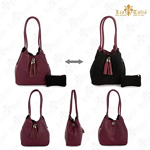 Two Suede Slouch Reversible Shoulder ELLA Womens Bag LIATALIA One Black Size amp; Medium Red with Leather in Deep Real 8qx5wfP