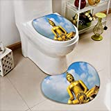 L-QN Bathroom Non-Slip Toilet Mat The Biggest Golden Indian Statue at The Temple in Thai Oriental Sage Asian Soft Non-Slip Water