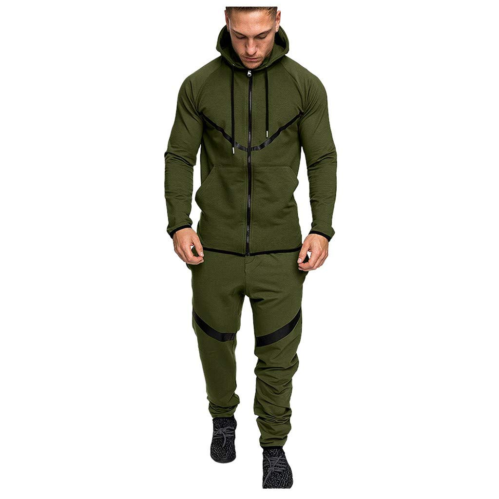 Men's Athletic Tracksuit Set Casual Full-Zip Jogging Hooded Sweatsuits Jacket & Activewear Pants Sports Suit(Army Green,Medium) by WUAI-Men