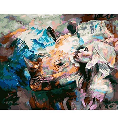 KYKDY Gerahmtes Bild Schönheit Dame DIY Malen nach Zahlen Bunte Bild Home Decor für Wohnzimmer Hand Einzigartige Geschenke GX9353, kein Rahmen 40x50 cm, HUABI B07PHTFRZ9   Niedriger Preis