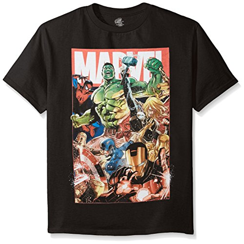 Marvel Boys' Big Boys' Superheroes Action Group Shot Short Sleeve T-Shirt