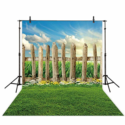 Funnytree 5x7ft Spring Grassland Wooden Fence Photography Backdrop Natural Wood Farm Easter Portrait Background Photo Studio Props Photobooth