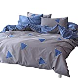 ORoa Boys Triangle Print Striped Bedding Sets Queen Duvet Cover Sets Multi Colored 3 Piece for Kids Girls Adults with 2 Pillow Shams Teens Bedding Sets Queen/Full Size Cotton 100 Percent, Blue Grey