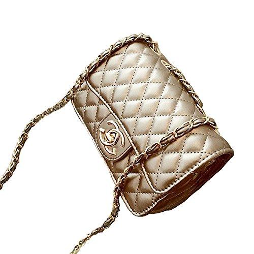 2018 Moda Pequeño Oro Cadena Acolchado Bolsa De Hombro Mini Cuerpo De La Cruz Las Mujeres Bolso Embrague Clásico Bolso De Noche (21 * 14 * 7cm) Gold