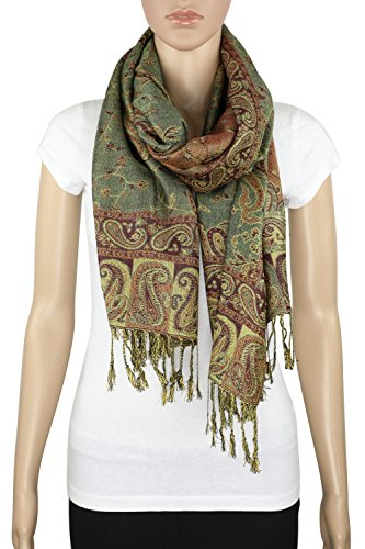 Achillea Soft Silky Reversible Paisley Pashmina Shawl Wrap Scarf w/Fringes 80'' x 28'' (Sage Green) by Achillea (Image #3)