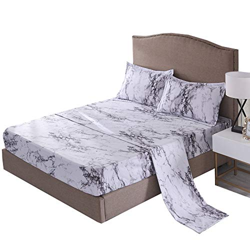 NTBED Marble Bed Sheet Set (Flat Sheet +Fitted Sheet+Pillowcases), Microfiber Bedding Sets (Grey, Full)