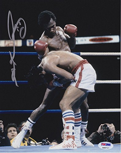 - Signed Sugar Ray Leonard Photograph - 8x10 Punching Duran COA - PSA/DNA Certified - Autographed Boxing Photos