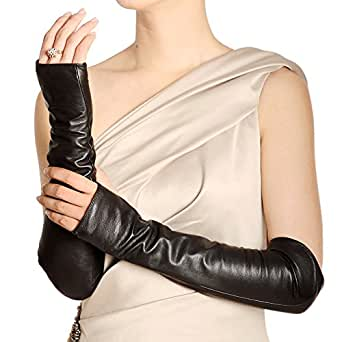 WARMEN Women Genuine Nappa Leather Elbow Long Fingerless Driving Gloves for Fur Coat (S, Black)